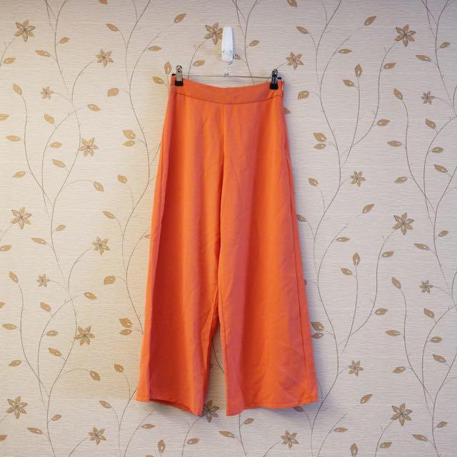 全新)打折高腰質感亮橘寬褲