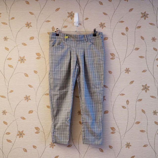 英倫風彈性打摺帥氣格紋老爺褲