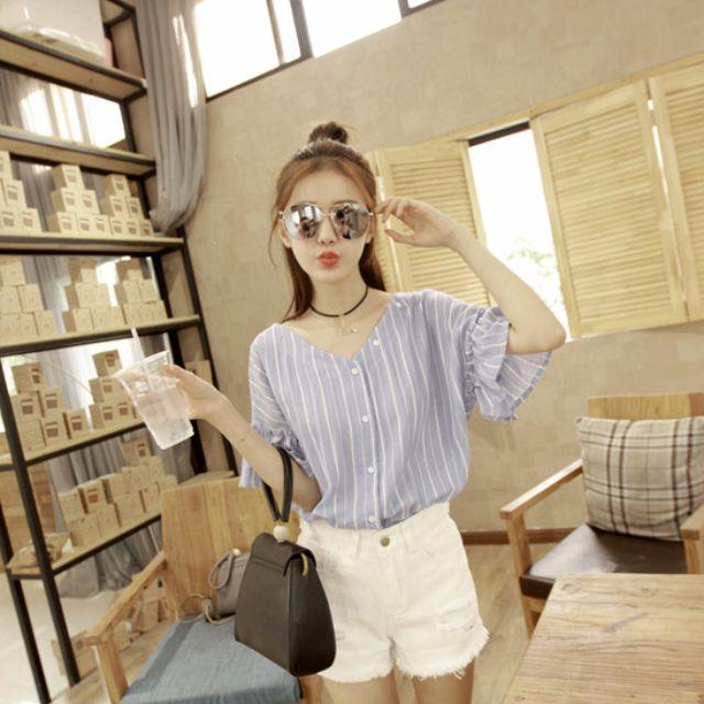 韓版荷葉袖條紋襯衫-淺藍