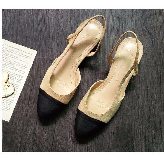 小香風明星同款拼色涼鞋女平底鞋