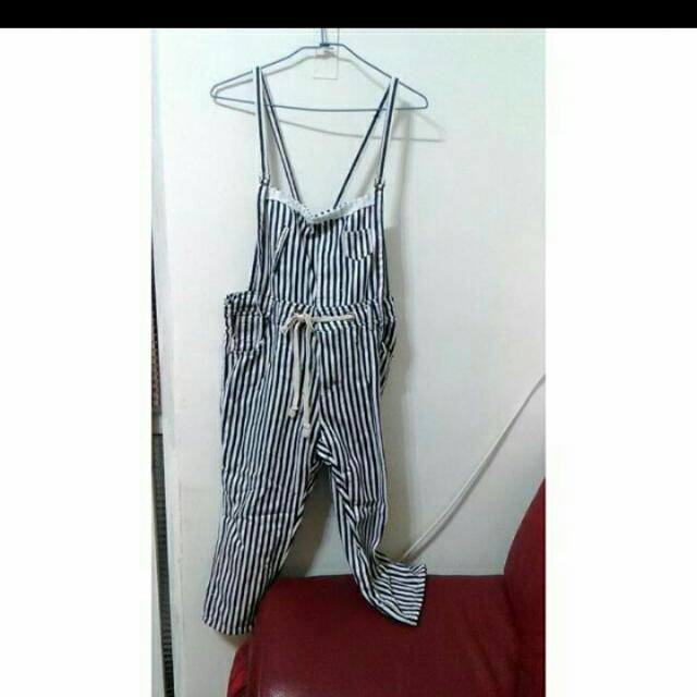 日系條紋一件式連身褲吊帶褲 與鹿西太太官網同款