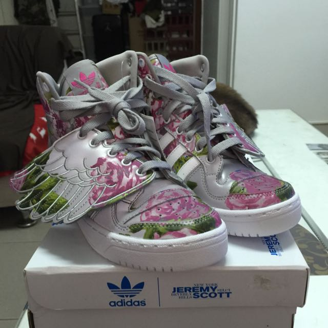 ADIDAS JEREMY SCOTT WINGS FLORAL 銀花卉 22.5