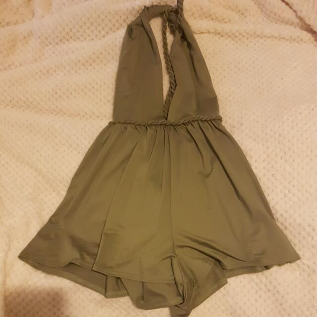 Backless Khaki Playsuit - Size 8 (Angel Biba)