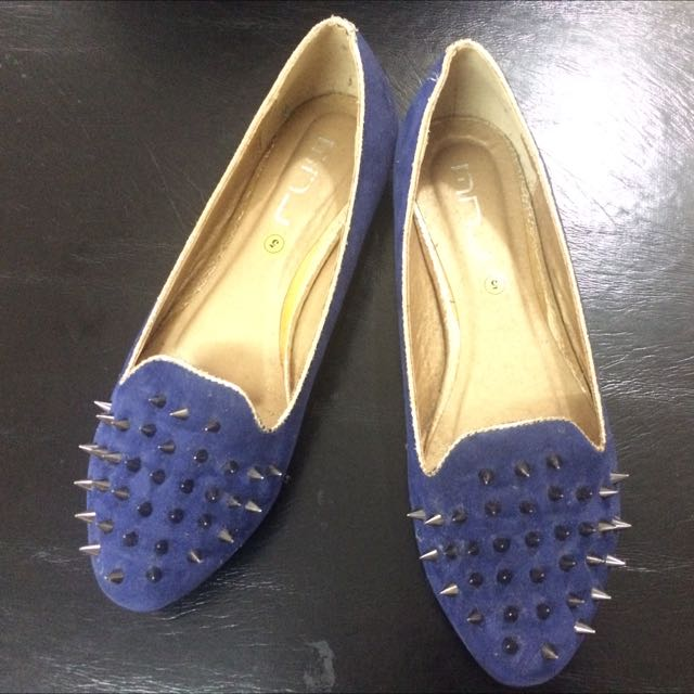 Blue Flats With Spikes Size 40