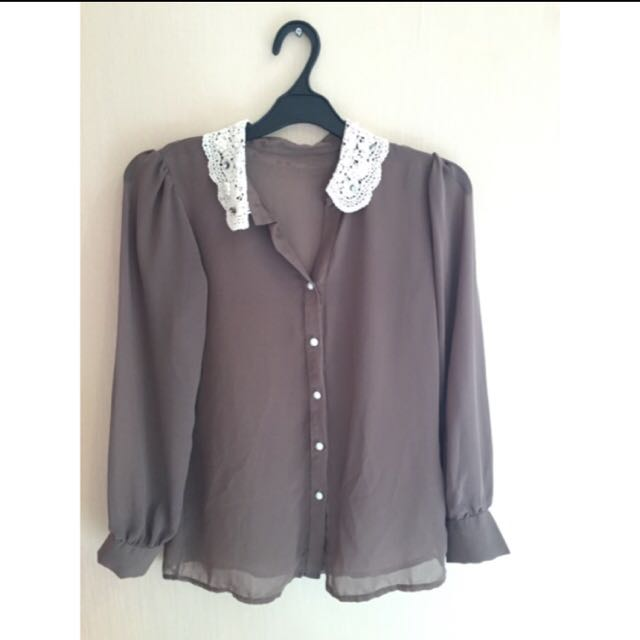 Brown Shirts With Lace Collar