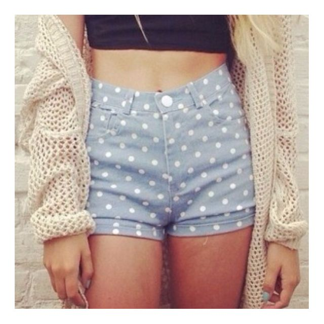 Factorie Audrey High Waisted Shorts (Blue & White Polka Dots)