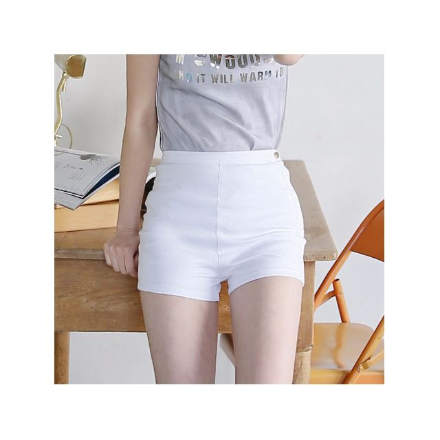 Factorie Audrey High Waisted Shorts (White)