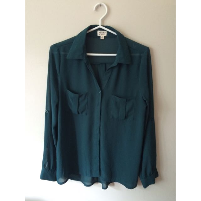 Forest Green Chiffon Button Up