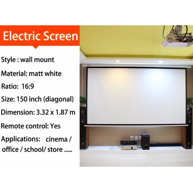 HD Electric Projection Screen 150 Inch With Remote Control