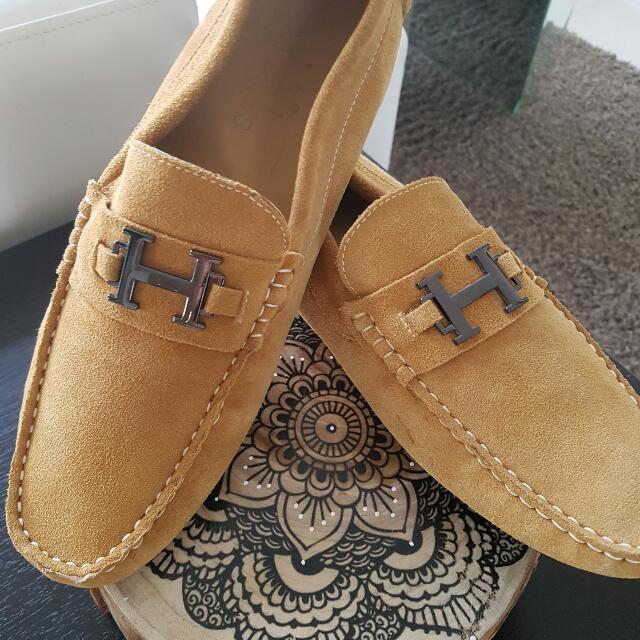 HERMES moccasins In Neutral Size 11 A+++++COPY GENUINE LEATHER NEW