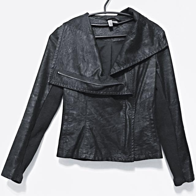 H&M個性剪裁皮革外套