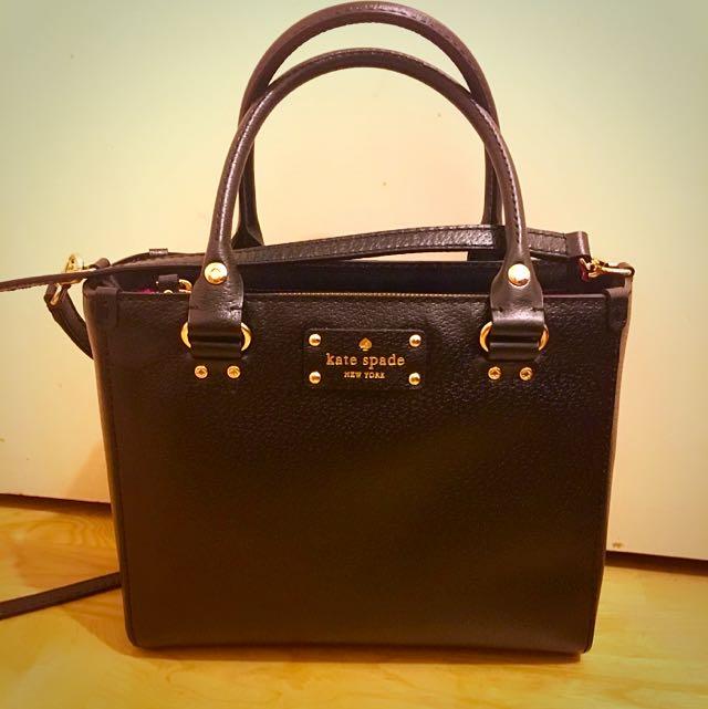 紐約Kate spade 黑色真皮方包