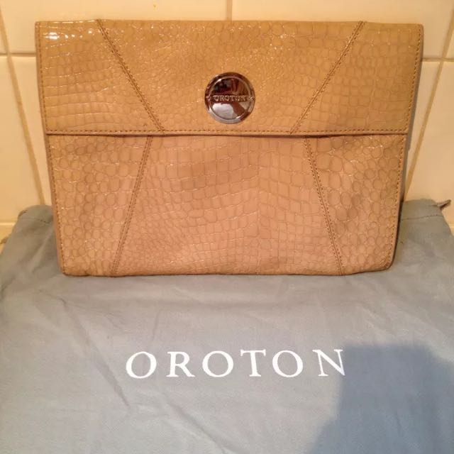 Oroton Raisa Croc Leather Clutch