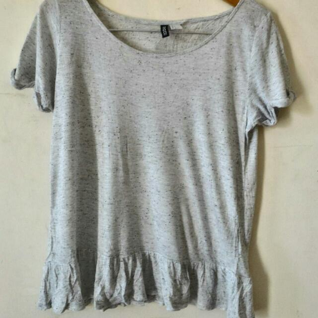 REPRICE H&M Speckled Grey Peplum Shirt