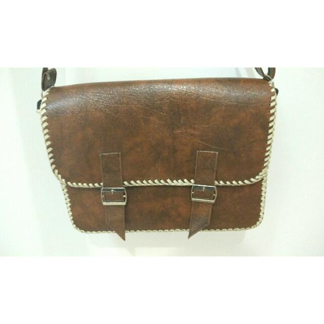 (Reprice) Synthetic Leather Bag Brown