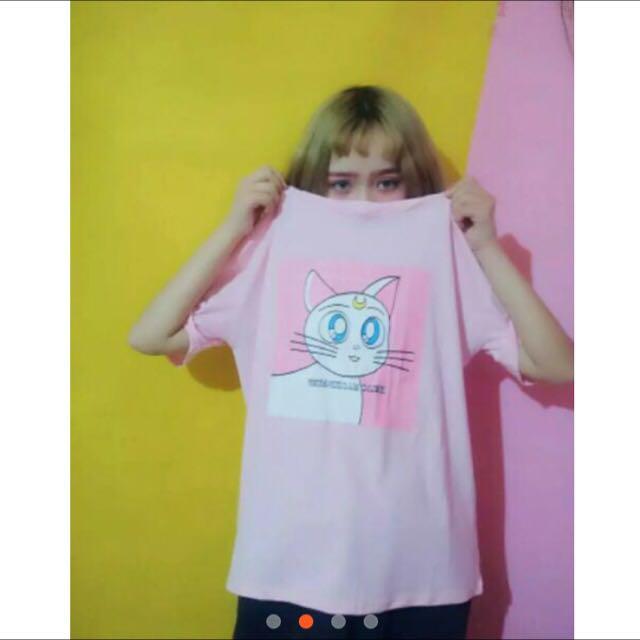 貓咪粉紅色T