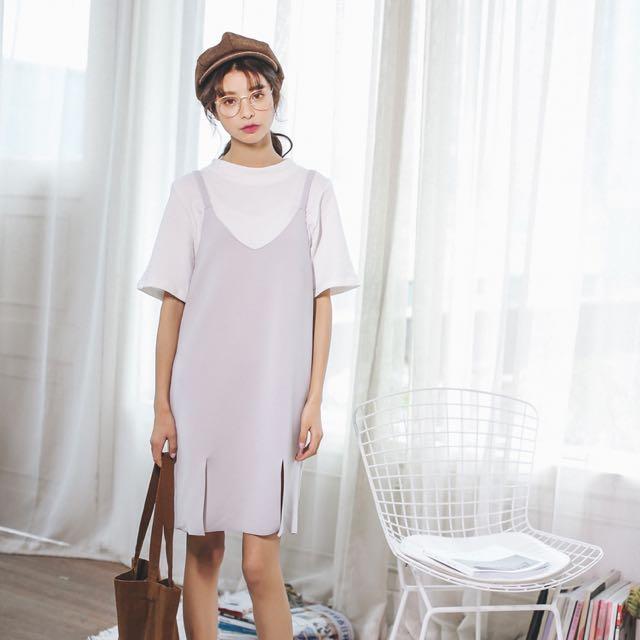 背帶裙韓國小女孩清新V領吊帶裙純色開叉學院風文藝連衣裙