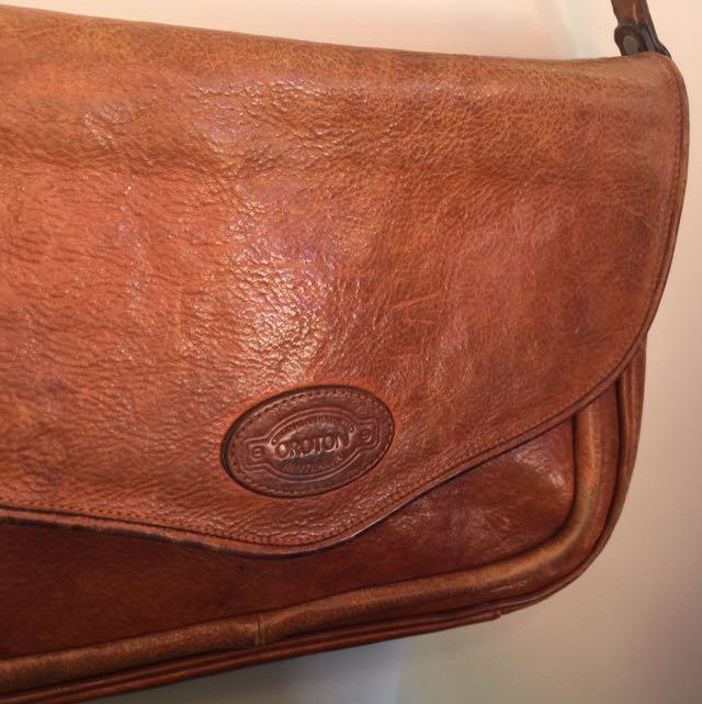 Vintage Tan Leather Oroton Crossbody Bag