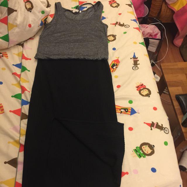 Zara羅紋鬆緊針織裙 內搭群