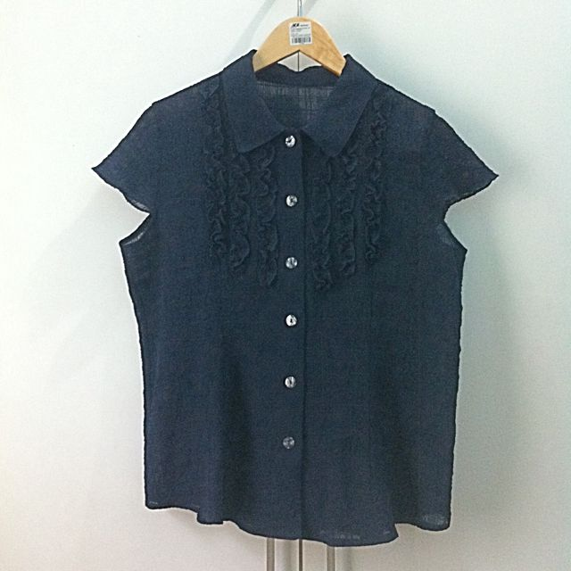 #1212sale Zara Women Ruffle Dark Blue Blouse L