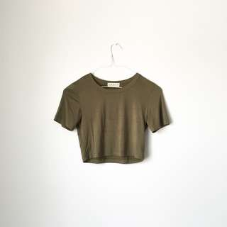 FRANKIE PHOENIX Crop Top In Olive Size S