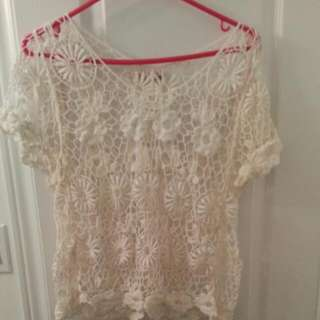 Off White Flower Lace Top