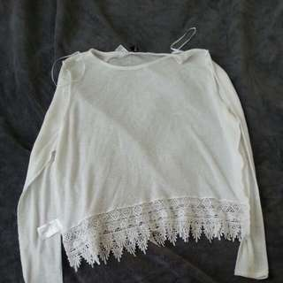 White Crop Top with Lace Accent