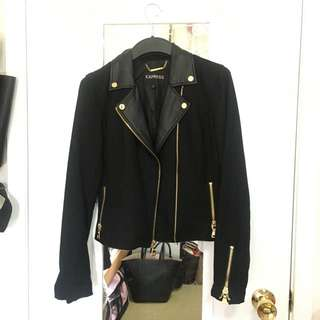Wool Motorcycle Style Jacket With Leather Lapel
