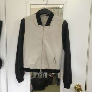 Leather Sleeve Bomber Jacket