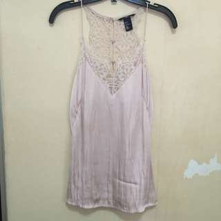 Lace And Satin Pink Tank