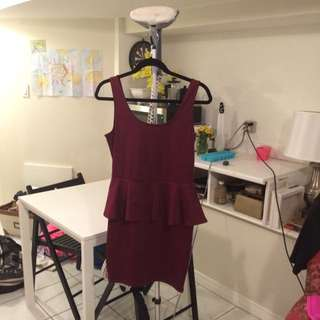Burgundy Peplum Dress