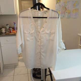 Sheer White Flows Blouse