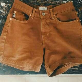 GUESS High Waisted Brown Denim Shorts