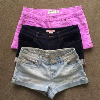 Fuchsia/Navy/Denim Short Shorts