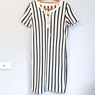 🚚 【只穿過一次】ZARA 條紋直筒短袖洋裝