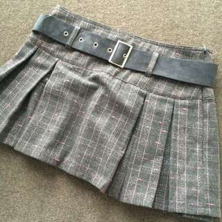 NEW Grey/Pink Pleated Tartan Skirt
