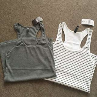 Grey/Striped Singlets (rib-cage)