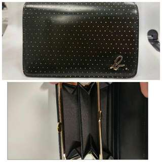 Agnes B Black Wallet With Embossed Gold Dots