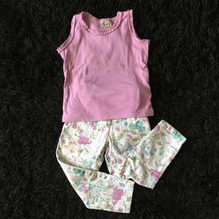 NEXT Purple Top & Flowery Jeans