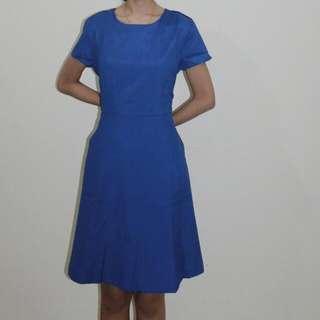 Blue Short Sleeved Dress Executive