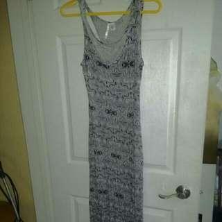 Black And White Maxi dress W/ Back Cutouts