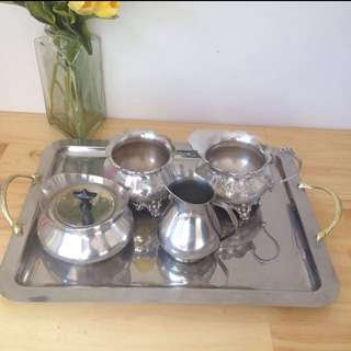 Free Shipping Antique Silver Tea Set