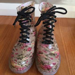 Cute Floral Doc Martin Inspired Rain Boots