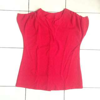 PRELOVED FORMAL RED BLOUSE SHORT SLEEVE ALL SIZE