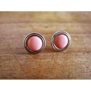 粉紅色 古著 圓形 耳環