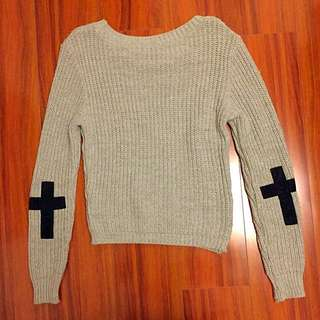 Missguided Grey Jumper With Elbow Patches