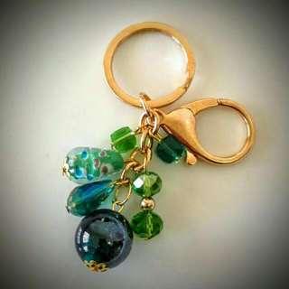 Bag Charm (green) -handmade