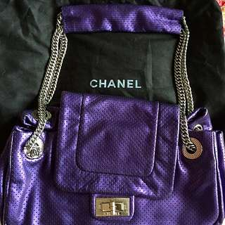 *PRICE DROP* Chanel Purple Classic Flap Bag With Reissue Hardware In Silver