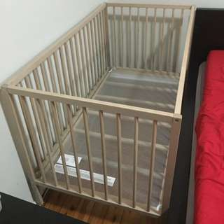 Cot With Mattress. Barely Used. Still Good As Brand New.