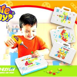 天才工程師 電動電鑽螺絲 積木 拼圖 柔媽咪/益智玩具 兒童電鑽遊戲 生日禮物